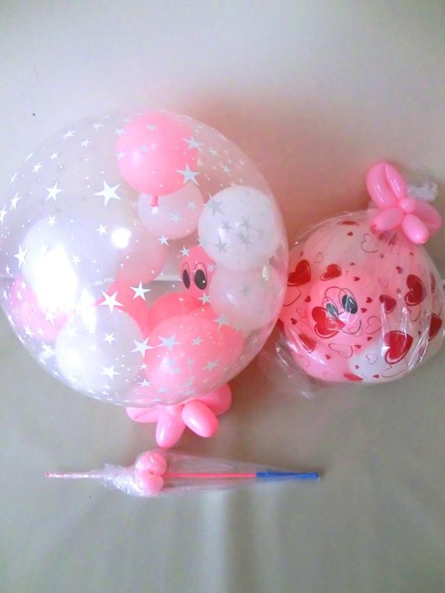 結婚祝/ピンクのスパークバルーン付キラキラのフラワーキティ