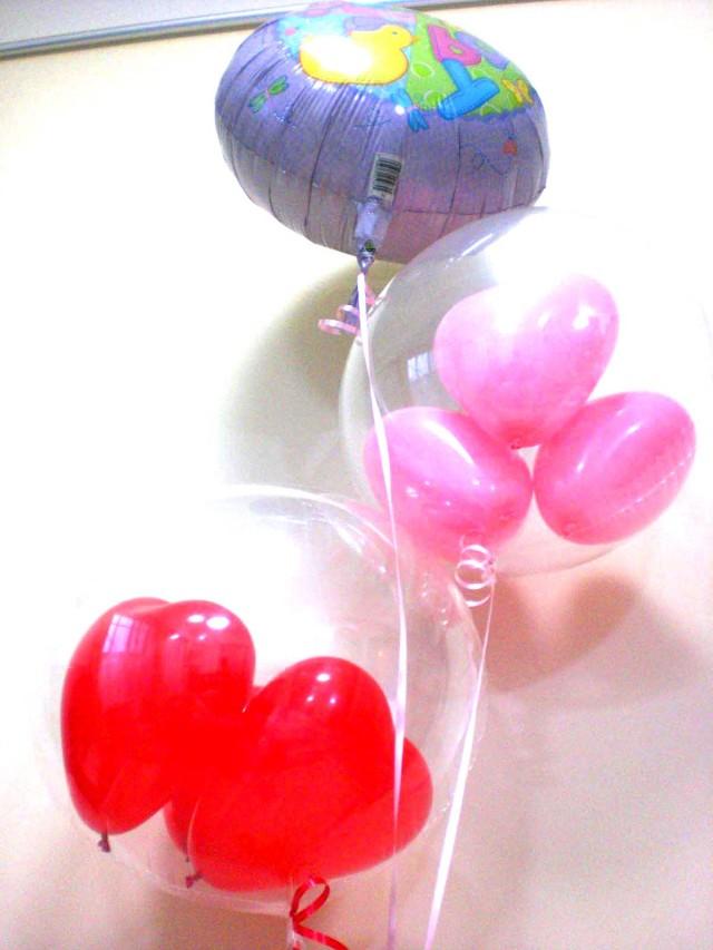出産お祝/送料無料「ウエルカムベビー &天使のバルーンアート」素敵なバルーン電報になります。