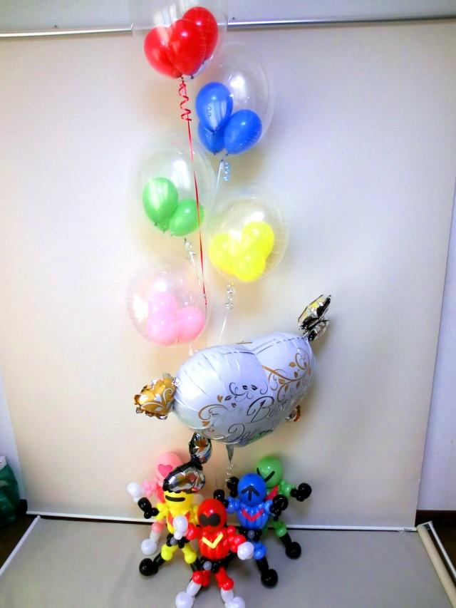 ゴレンジャー「結婚お祝アカ・アオ・キ・ミドリ・モモ色 レンジャーバルーンアート&バルーン」バルーン電報になります。