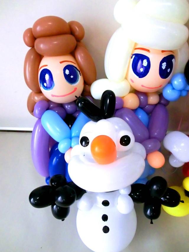 入学祝・入園祝・卒業祝・七五三・ディズニー「アナ雪&ミッキー・ミニー 誕生日祝バルーン&バルーンアート」バルーン電報になります。