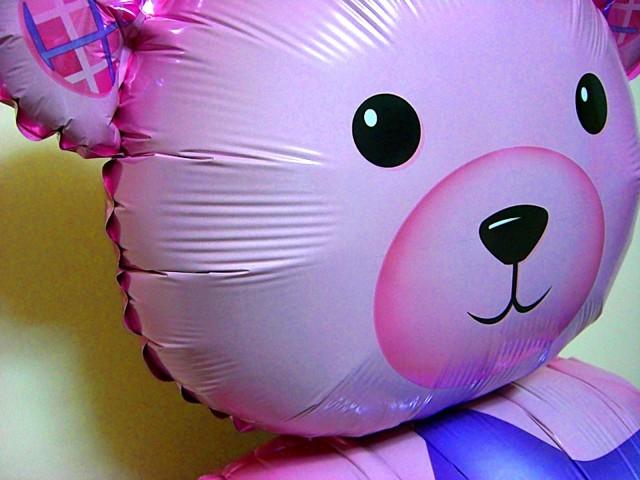 素敵なバルーン電報になります。出産お祝用のバルーンギフト ベアー&ブーツ ピンク