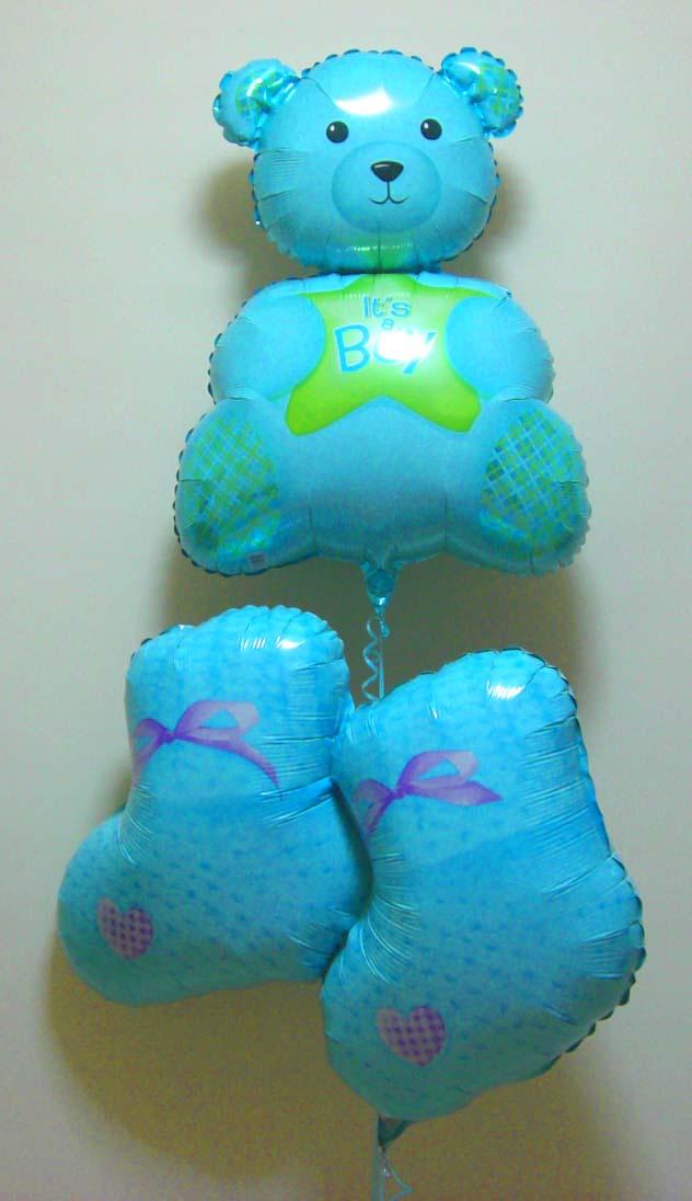 素敵なバルーン電報になります。出産お祝用のバルーンギフト。「ベアー&ブーツ ブルー」