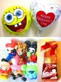 送料無料「チョコ付バレンタイン スポンジボブ&バルーンアート」素敵なバルーン電報になります。