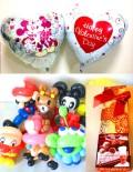 送料無料「チョコ付バレンタイン ラブラブミッキー&ミニー&バルーンアート」素敵なバルーン電報になります。