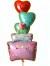 結婚祝「パステルハート ウエディングケーキ」バルーンギフトにメッセージカードを添えれば素敵なバルーン電報になります。
